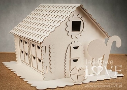 Laserowe Love Chipboard - Large 3D Gingerbread House Advent Calendar - Vintage Christmas