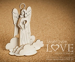 Laserowe Love Chipboard - 3D Guardian angel & clouds - Vintage Christmas