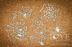 Laserowe Love Chipboard - Spider webs and spiders - Halloween Time