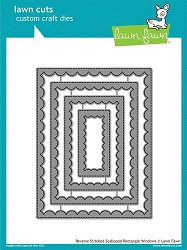 Lawn Fawn - Die - Reverse Stitch Scallop Rectangle Windows