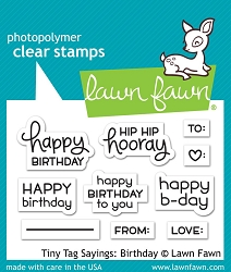 Lawn Fawn - Clear Stamps - Tiny Tags Sayings: Birthday