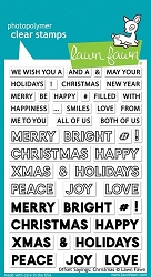 Lawn Fawn - Clear Stamps - Offset Saying:  Christmas