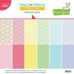 Lawn Fawn - 12x12 paper pack - Really Rainbow Scallops Collection Paper Pack