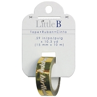 Little B - Foil Tape - (15mm x 10m) - Gold Happy Birthday