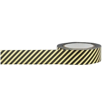 Little B - Decorative Paper Tape - Black and Gold Foiled Stripes (15mm x 10m) :)