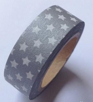 Love My Tapes - Washi Tape - Silver w/ White Stars