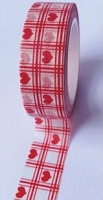 Love My Tapes - Washi Tape - Red Plaid Hearts