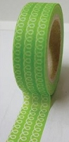 Love My Tapes - Washi Tape - White Loop de Loops on Green