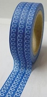 Love My Tapes - Washi Tape - White Loop de Loops on Blue