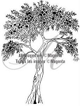 Magenta-Cling Stamp-Berry Tree