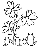 Magenta - Cling Rubber Stamp - Garden Cats