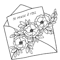 Magenta - Cling Rubber Stamp - Enveloppe Je Pense a toi