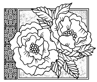 Magenta - Cling Rubber Stamp - Wild Roses
