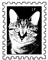 Magenta - Cling Rubber Stamp - Cat Postage Stamp