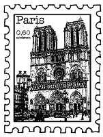Magenta - Cling Rubber Stamp - Paris Postage Stamp