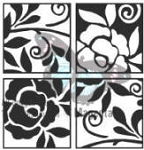 Magenta-Cling Stamp-Four Tile Roses