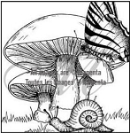 Magenta-Cling Stamp-Butterfly, Mushrooms & Snail