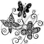 Magenta Cling Stamp - Deco Butterflies