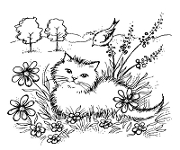 Magenta - Cling Rubber Stamp - Minou in the Garden