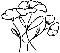 Magenta - Cling Rubber Stamp - Poppies