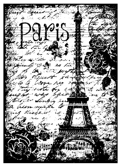 Magenta Cling Rubber Stamp Paris Eiffel Tower