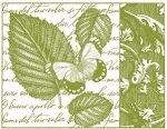 Magenta-Cling Stamp-Leaves & Butterfly Collage