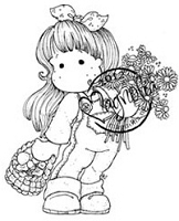 Magnolia - Cling Mounted Rubber Stamp - Tilda With Daisys and Mushrooms