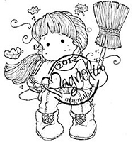 Magnolia - Cling Mounted Rubber Stamp - Autumn Tilda With Broom