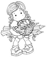 Magnolia - Cling Mounted Rubber Stamp - Autumn Tilda With Pencils