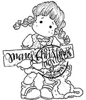 Magnolia - Cling Mounted Rubber Stamp - Christmas Tilda with Cat