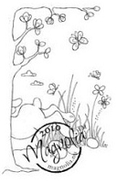 Magnolia - Cling Mounted Rubber Stamp - Bunny Background