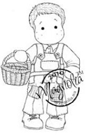 Magnolia - Cling Mounted Rubber Stamp  - Edwin with Egg Basket