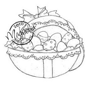 Magnolia - Cling Mounted Rubber Stamp  - Easter Egg with Eggs
