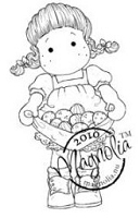 Magnolia - Cling Mounted Rubber Stamp  - Tilda with Eggs in Her Apron