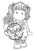 Magnolia - Cling Mounted Rubber Stamp - Tilda with Flower Pot