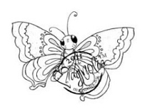 Magnolia - Cling Mounted Rubber Stamp - Large Butterfly
