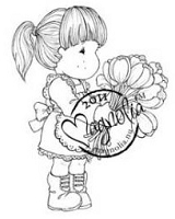 Magnolia - Cling Mounted Rubber Stamp  - Tilda with Armful of Tulips