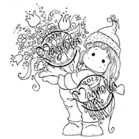 Magnolia - Cling Mounted Rubber Stamp - Tilda with a Big Bouquet