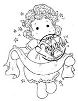 Magnolia - Cling Mounted Rubber Stamp - Tilda with Banner