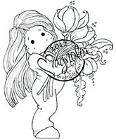 Magnolia - Cling Mounted Rubber Stamp - Tilda with Big Tulip