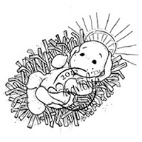 Magnolia - Cling Mounted Rubber Stamp - Little Holy Baby