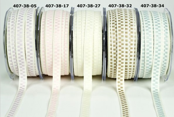 3/8 inch Solid Ivory / Woven Check (407)