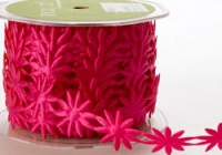May Arts Ribbon- Satin Cut Outs - Fuchsia Daisies (per yard)