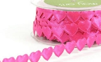 May Arts Ribbon- Satin Cut Outs - Fuchsia Hearts (per yard)