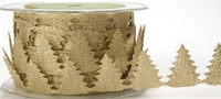 May Arts Ribbon- Satin Cut Outs - Gold Pine Trees (per yard)