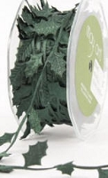 May Arts Ribbon- Satin Cut Outs - Green Holiday Leaves (per yard)