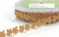 May Arts Ribbon- Satin Cut Outs - Brown Leaves (per yard)