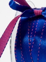 May Arts - 3/8 inch Reversible Satin - Royal Blue/Fuchsia (1 yard)