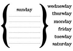 Maya Road Singleton Clear Stamps - Days of the Week