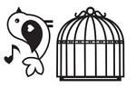 Maya Road Singleton Clear Stamps - Bird w/ Cage
